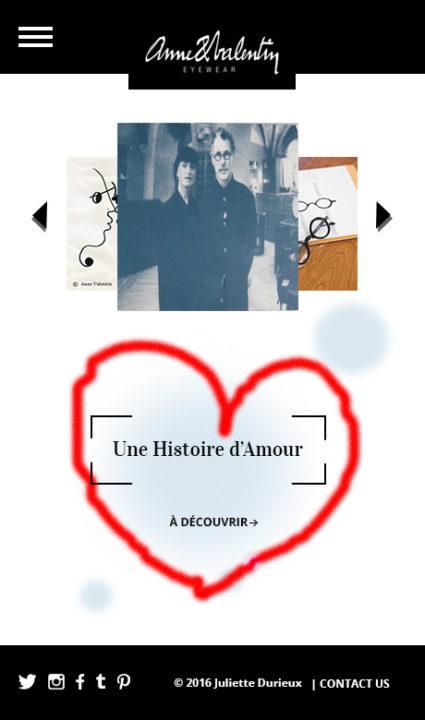 Version mobile du site Anne et Valentin