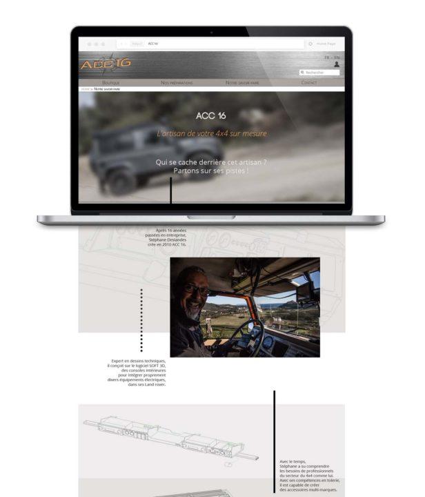 Page Savoir-faire destinée à mettre en valeur l'activité du client grâce à un portrait de lui retraçant son histoire et ses contacts.
