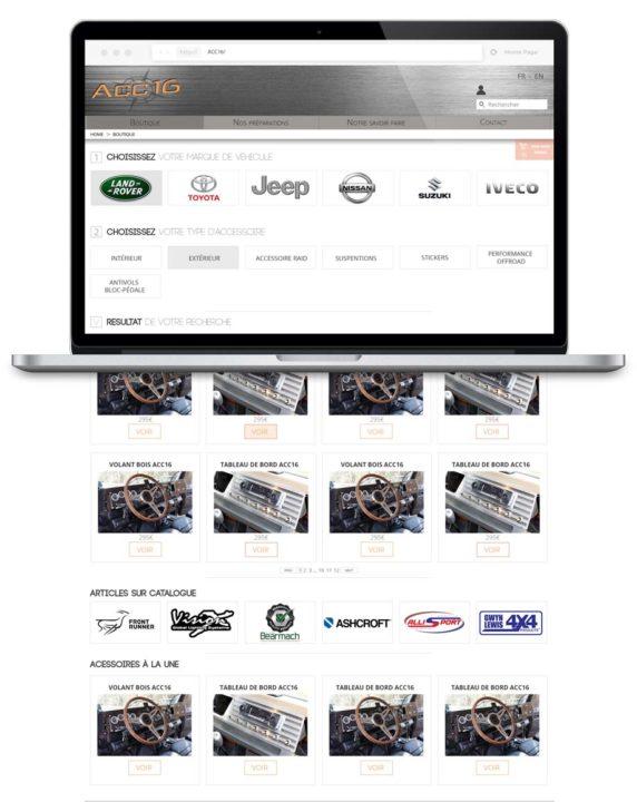 Page Shop, partie e-commerce du site présentant des articles spécialisés de models de 4x4 à acheter.